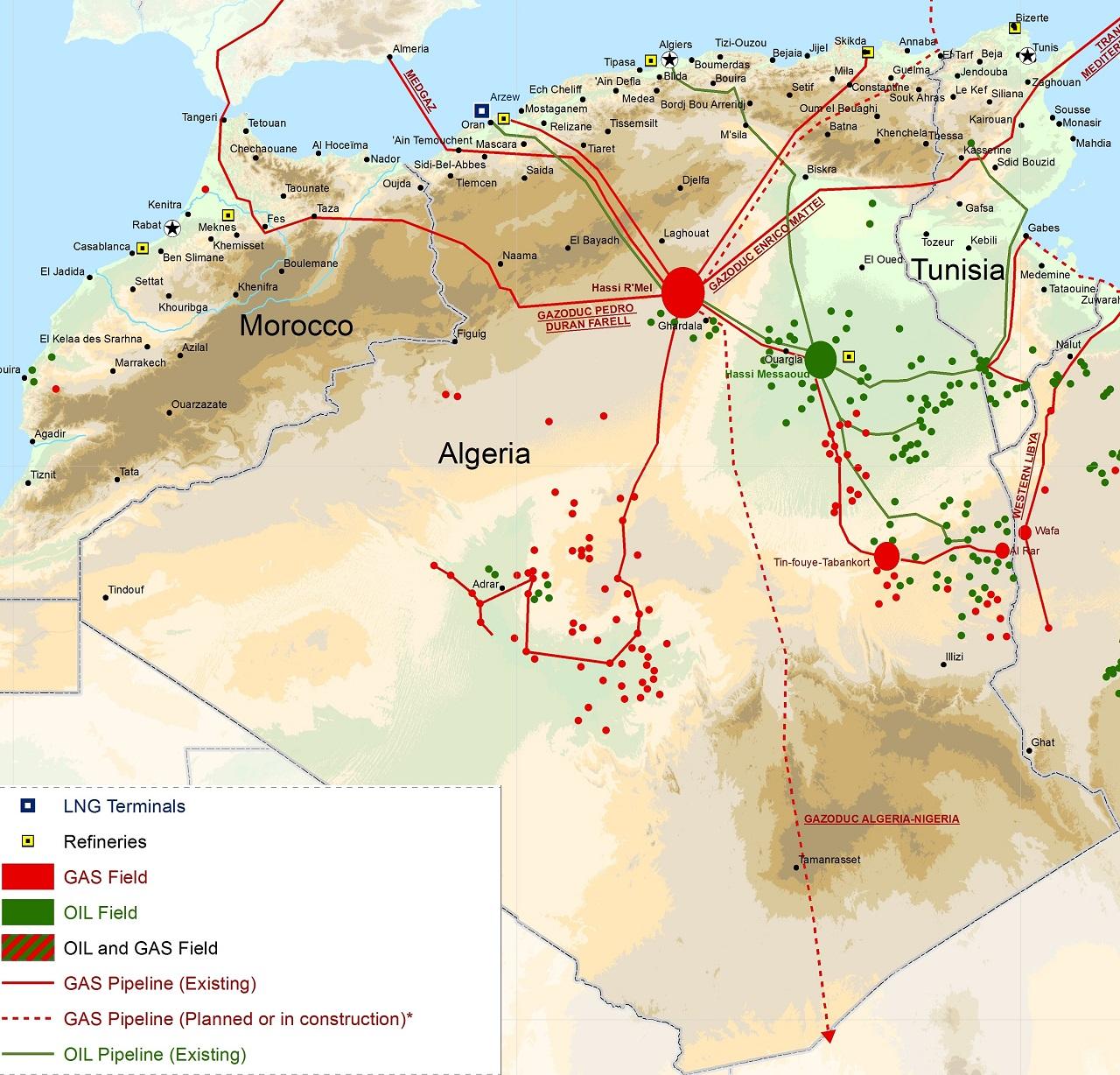 Алжир-тунис-и-Марокко-нефть-и-газ