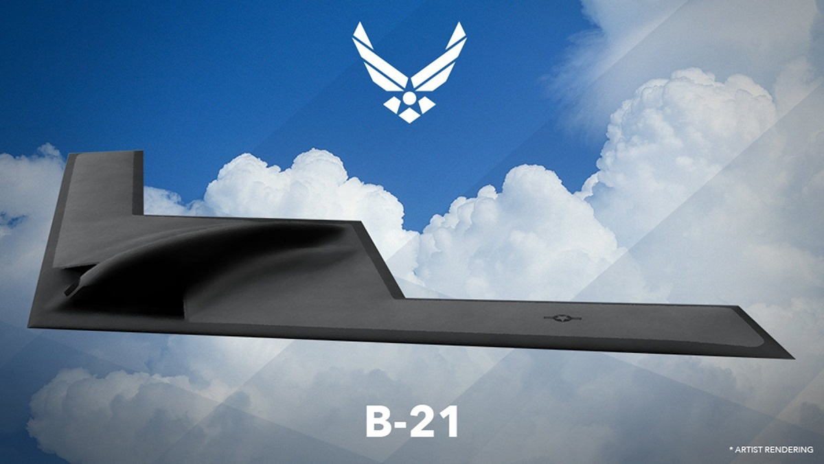 It's an image that's being picked apart by military aviation experts around the world: the first official drawing of the U.S. Air Force's B-21 bomber. Air Force Secretary Deborah Lee James unveiled the artist rendering February 26 based on the initial design concept.