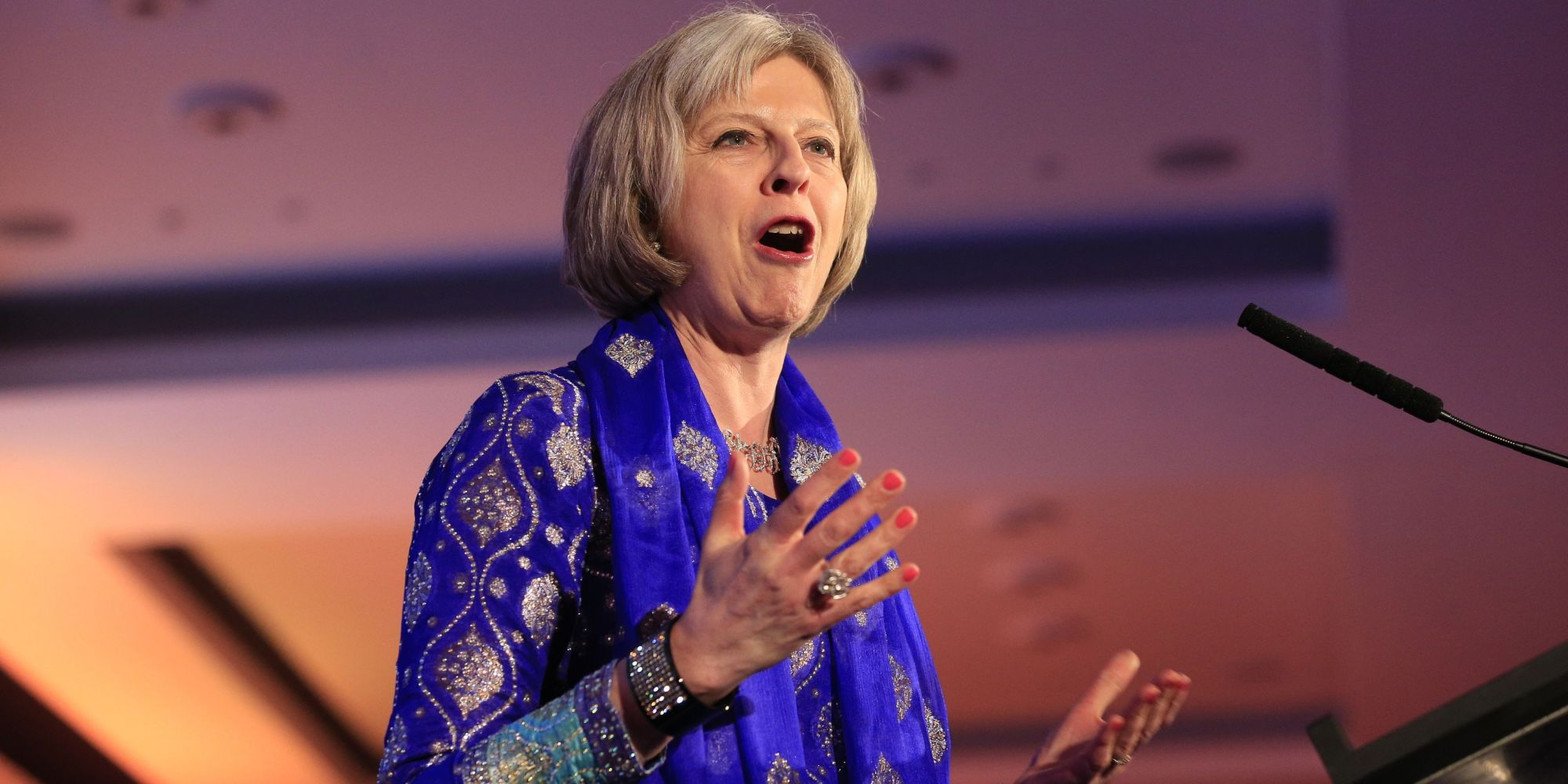 Theresa May attending the Asian Business AwardsÕ annual Asian Rich List 101 gala ceremony at Westminster Park Plaza, London.