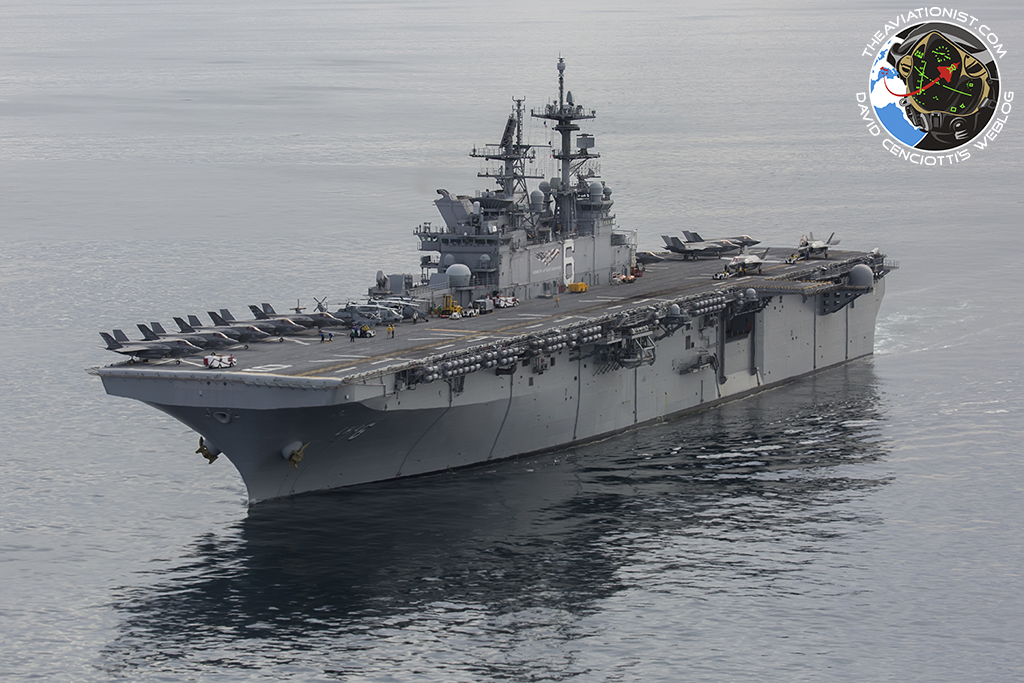"""The USS America (LHA-6) cruises off the coast of S. Cal with 10 USMC F-35Bs topside (2 more below) from VMFA-211 & VMX-1, as well as a UH-1Y, AH-1Z, & SH-60. Taken during the """"Proof of Concept"""" demonstration Nov. 19, 2016."""